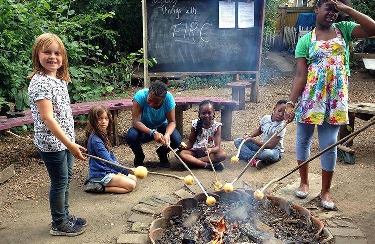 Children in outdoor activities at the Hackney Showrooms